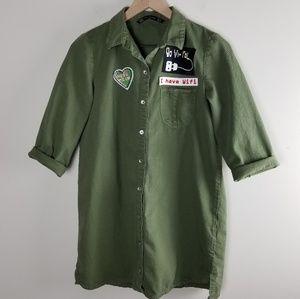 Zara Patchwork Military Olive Denim Shirt Dress